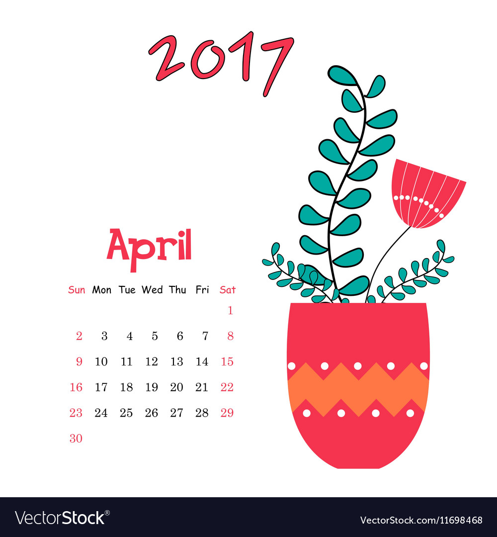 Calendar template for April 2017 with vase