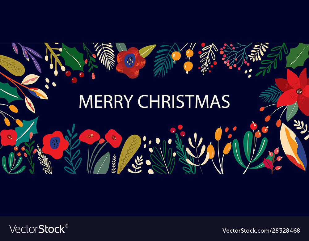 Christmas floral banner