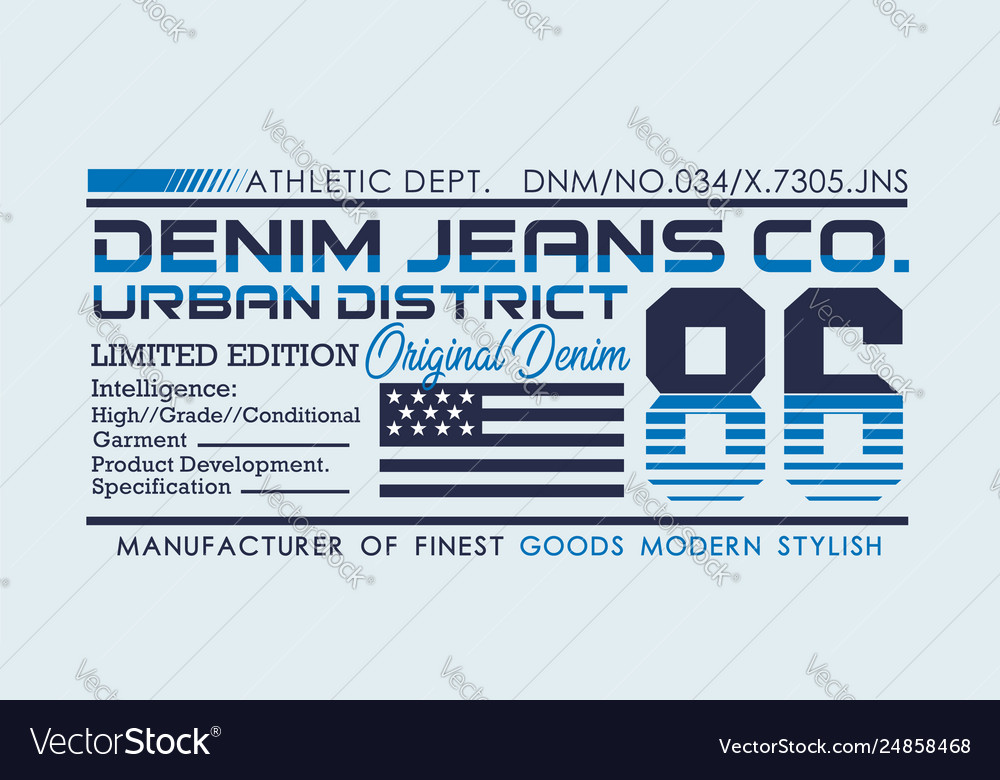 Denim sport typography design for t-shirt