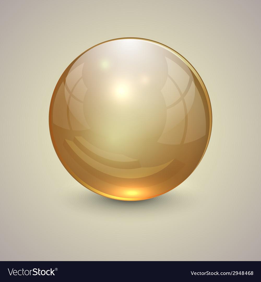 Golden transparent globe on light background