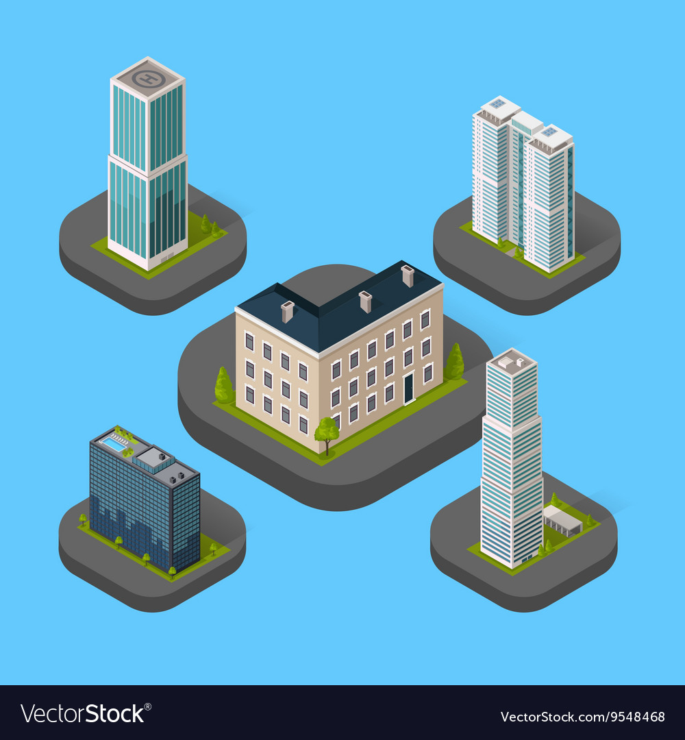 Isometric Building Set Isolated