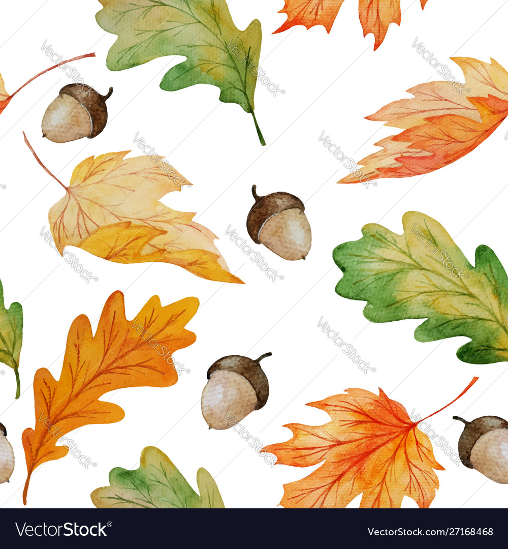 Maple and oak watercolor seamless pattern with