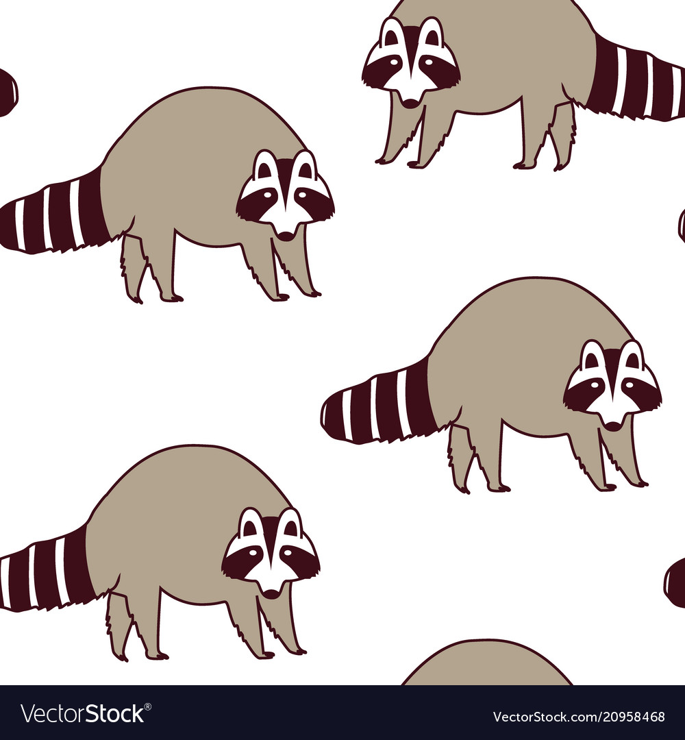Pattern with cute raccoons kids