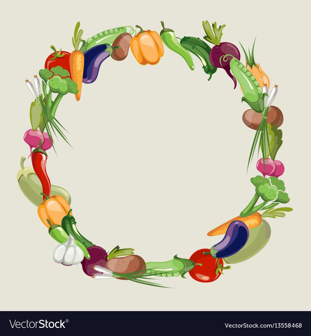 Vegetables raw food blank frame