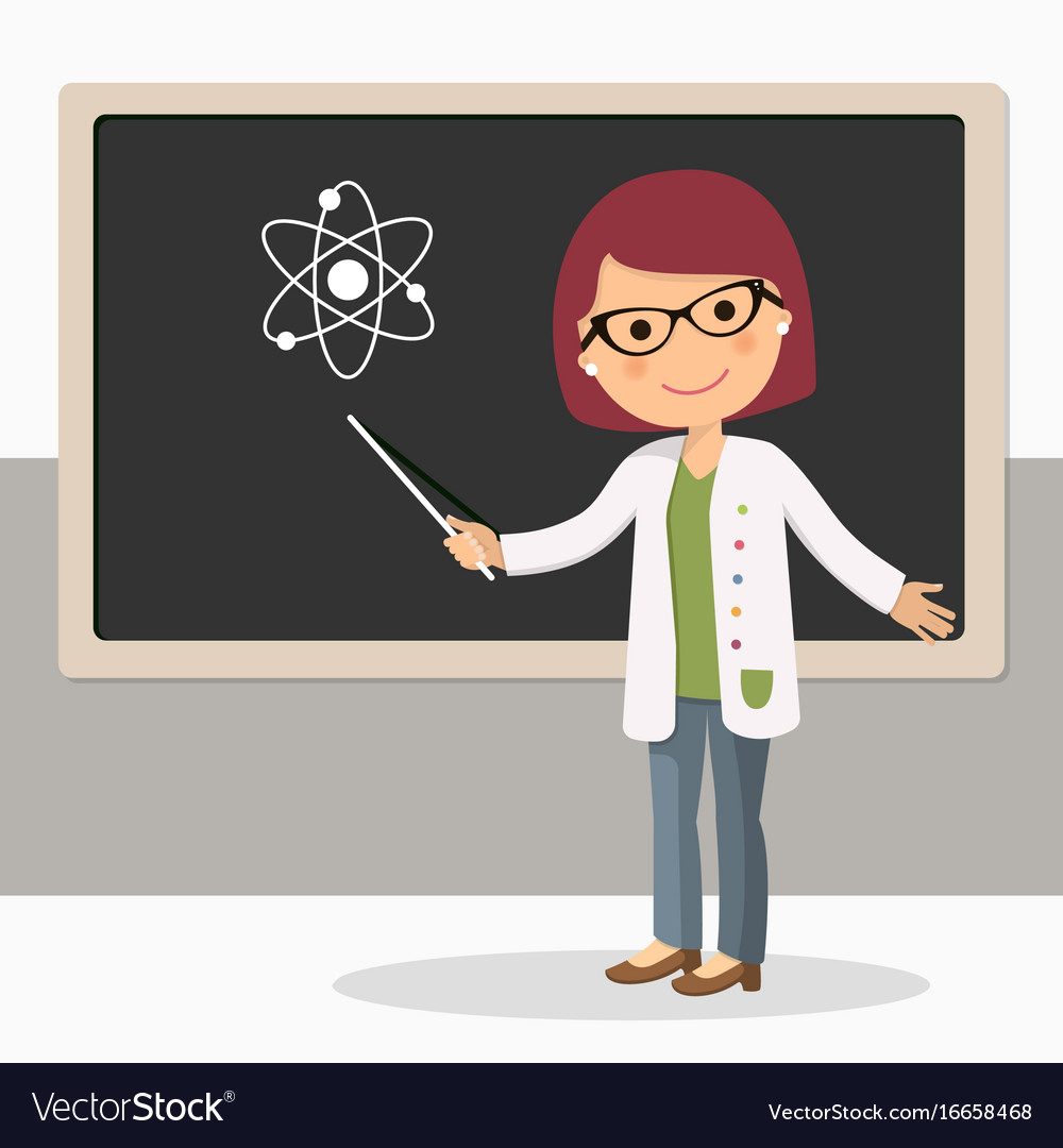 Young female teacher on science lesson at vector image