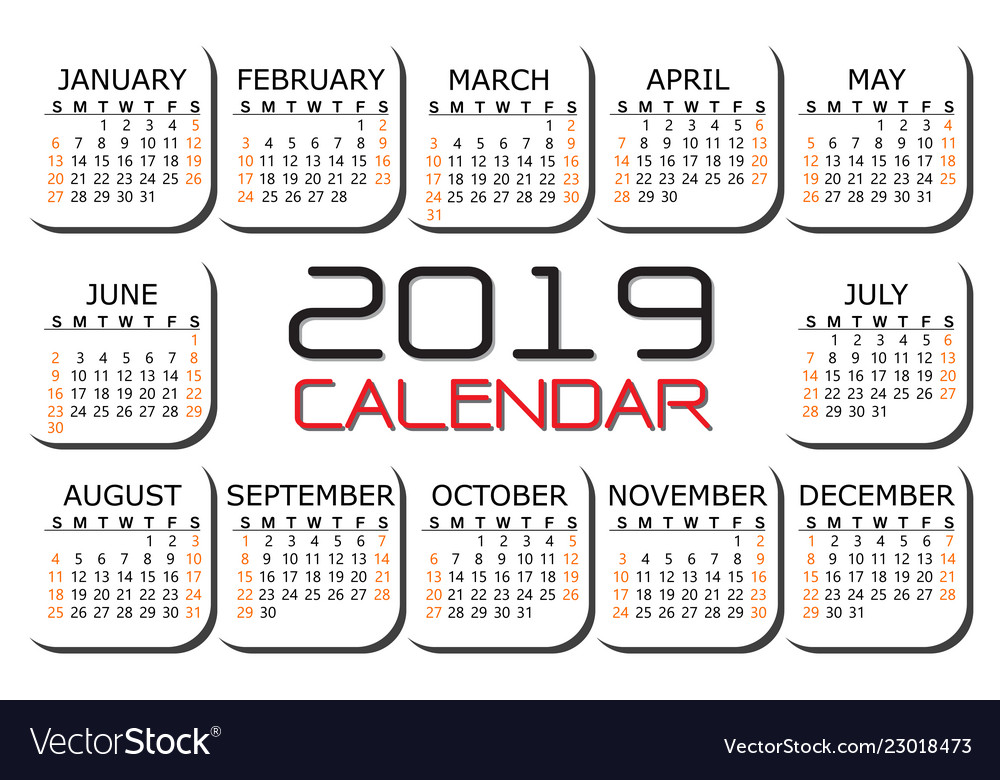 2019 calendar red black text number on white