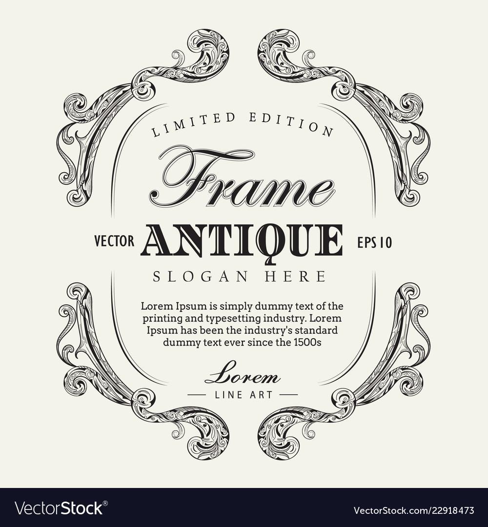 Antique frame hand drawn vintage label banner