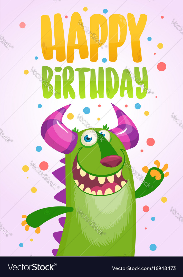 Birthday Card With Cute Funny Monsters Royalty Free Vector