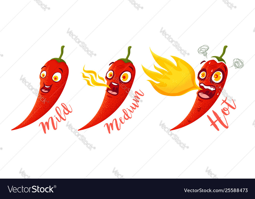 Cartoon different red chillies