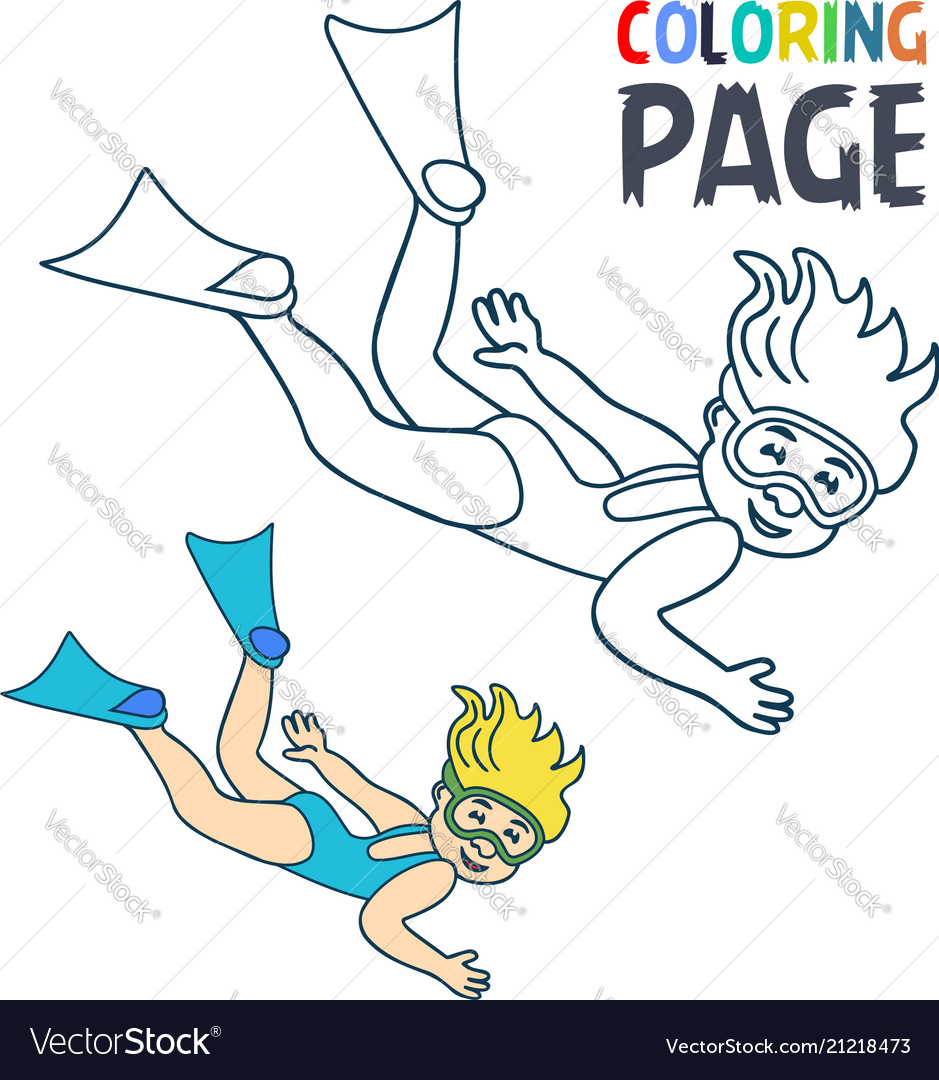 Coloring Page With Woman Divers Cartoon Vector Image