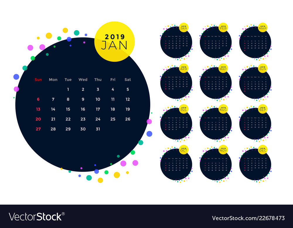 Creative Calendar Design Template Of 2019 New Year Vector Image