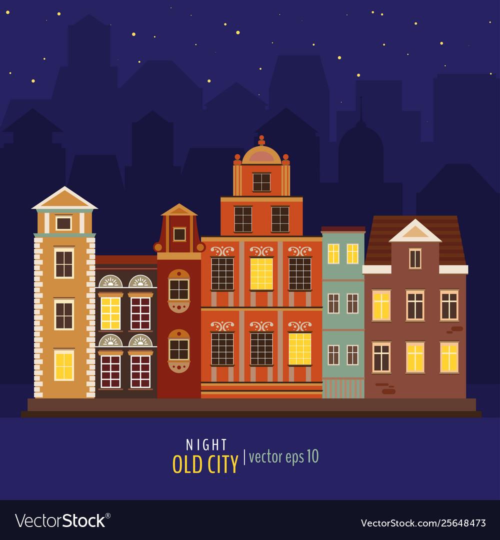 Cute colorful night buildings