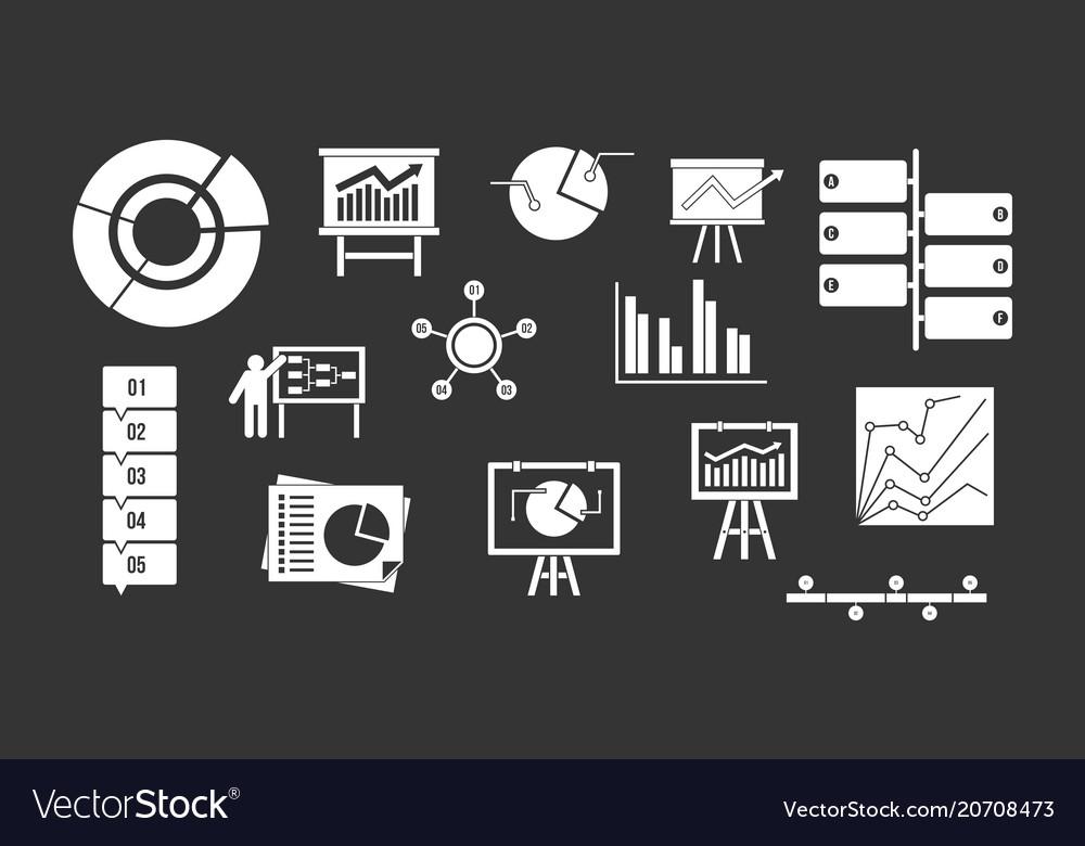Diagram icon set grey