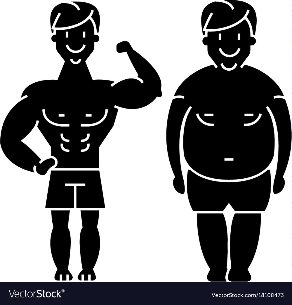 Fitness - before and after - strong man - fat guy