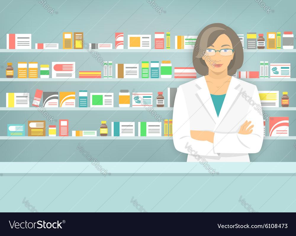 Flat style woman pharmacist at pharmacy opposite
