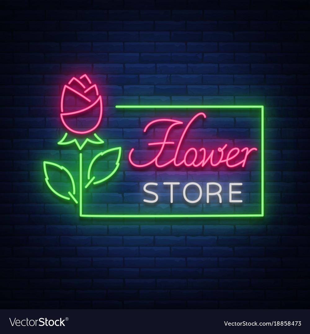 Flower Store Logo Neon Sign Flower Shop Royalty Free Vector