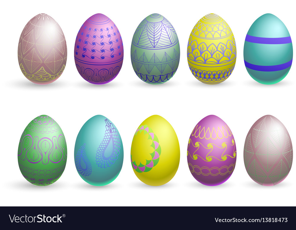 Glitter easter eggs on a white background vector image