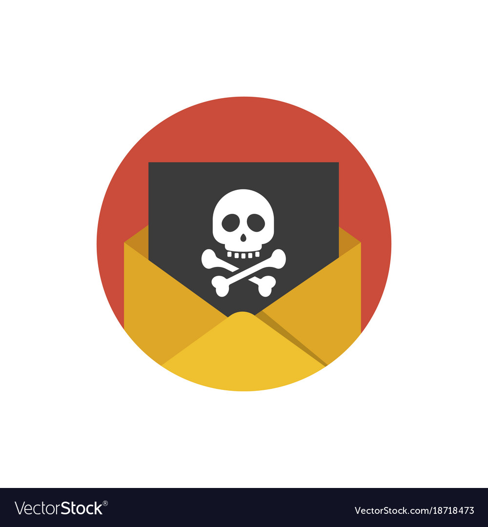 Hacker attack icon concept of sending spam and