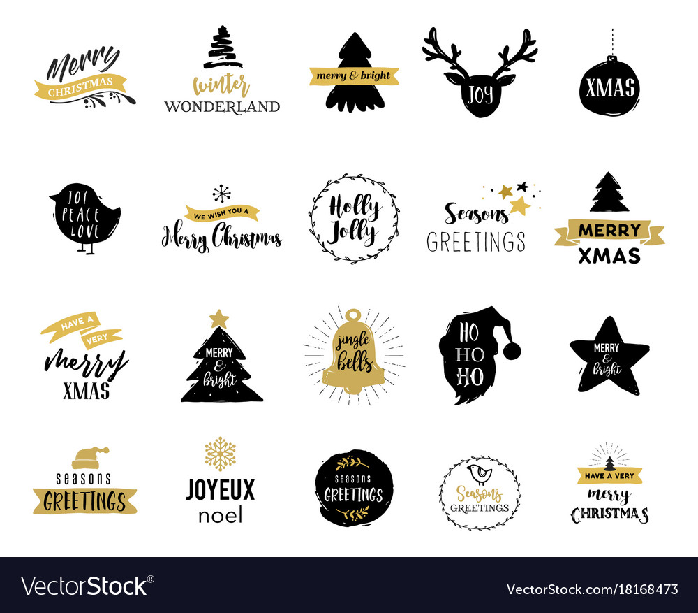 Merry christmas hand drawn cards an vector image