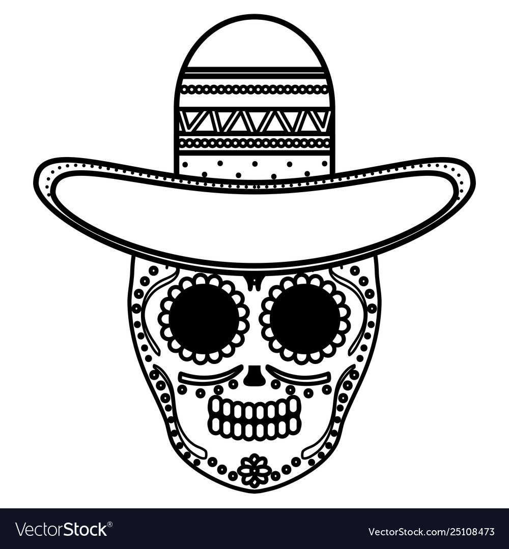 Mexican skull death mask with mariachi hat