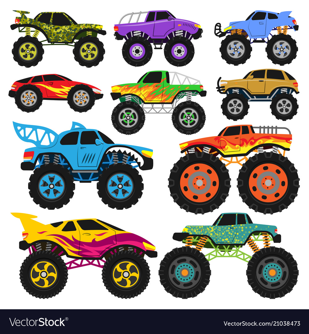 Monster truck cartoon vehicle or car and