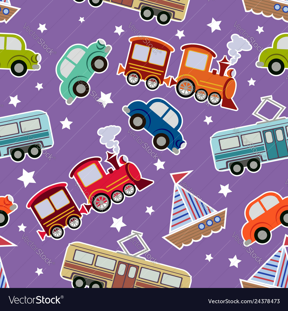 Seamless kids transport toys background