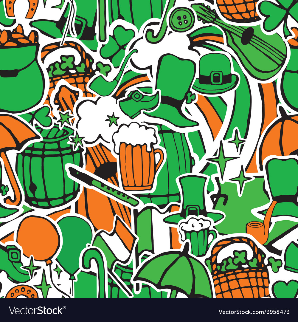 Seamless pattern with holiday symbols Patrick