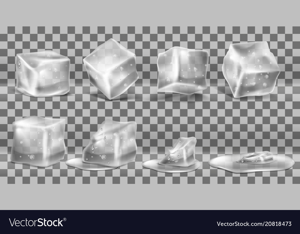Set of cold solid ice cubes and melting