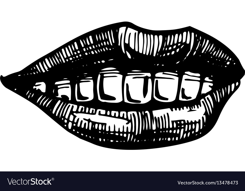 Smile lips isolated on white background vector image