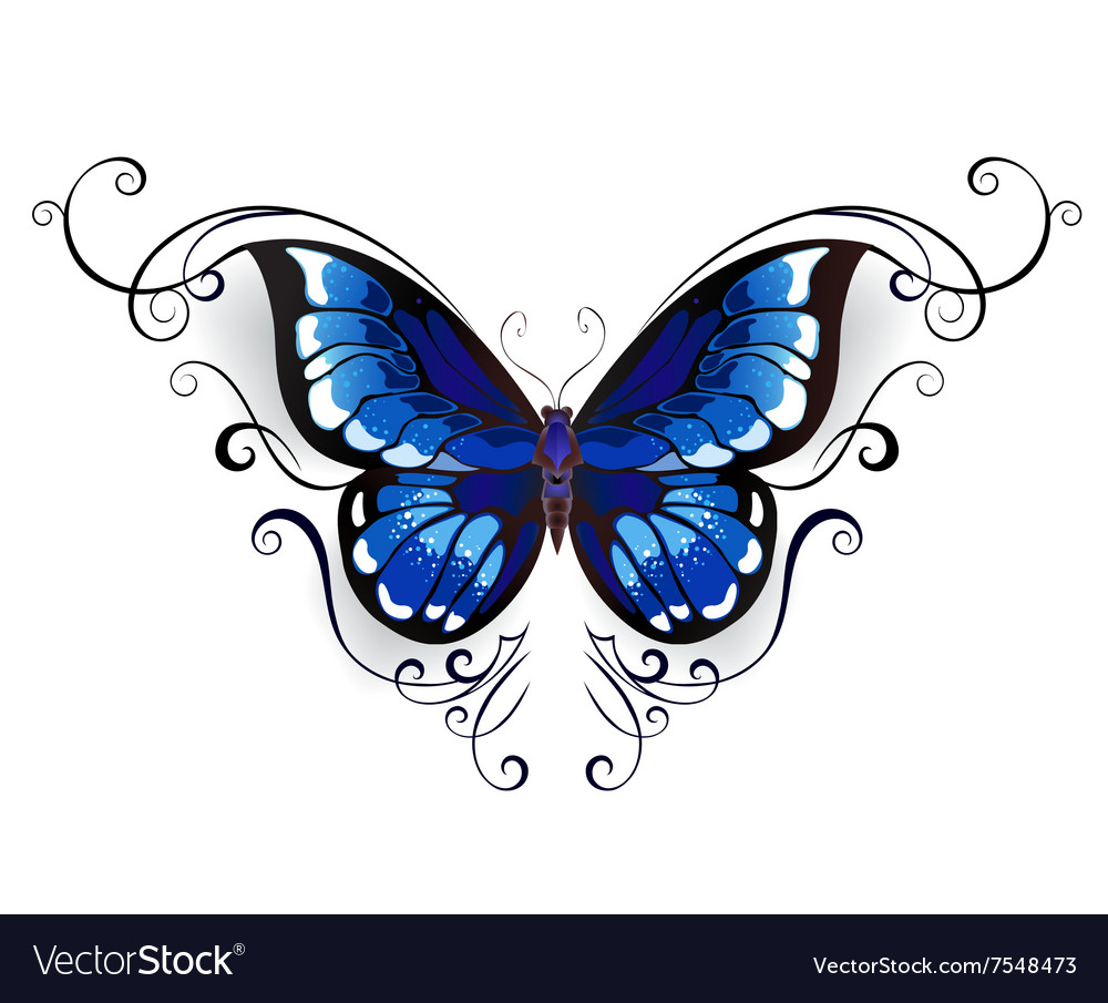 tattoo blue butterfly royalty free vector image rh vectorstock com Ice Cream Vector White Vector