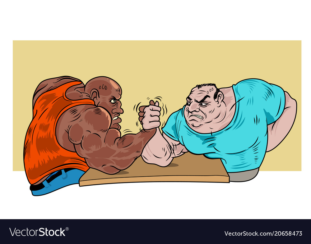 Two guys practicing arm wrestling