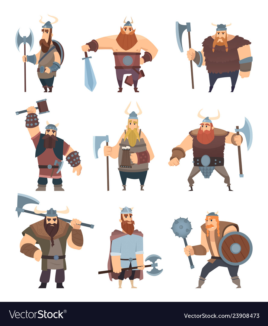 Viking cartoon mythology of medieval warrior