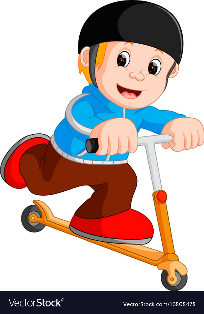 A boy playing push bicycle
