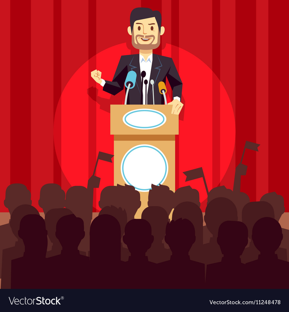 Business leadership concept with speaker