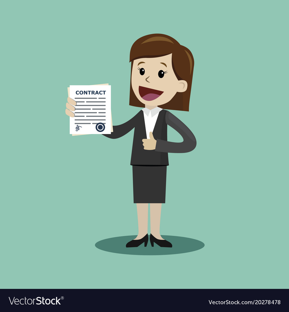Businesswoman holding a contract with signature