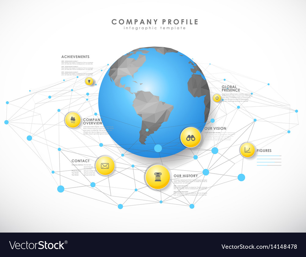 Company profile overview template with yellow vector image