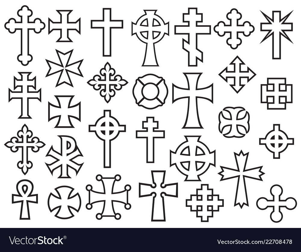 Crosses thin line collection icons