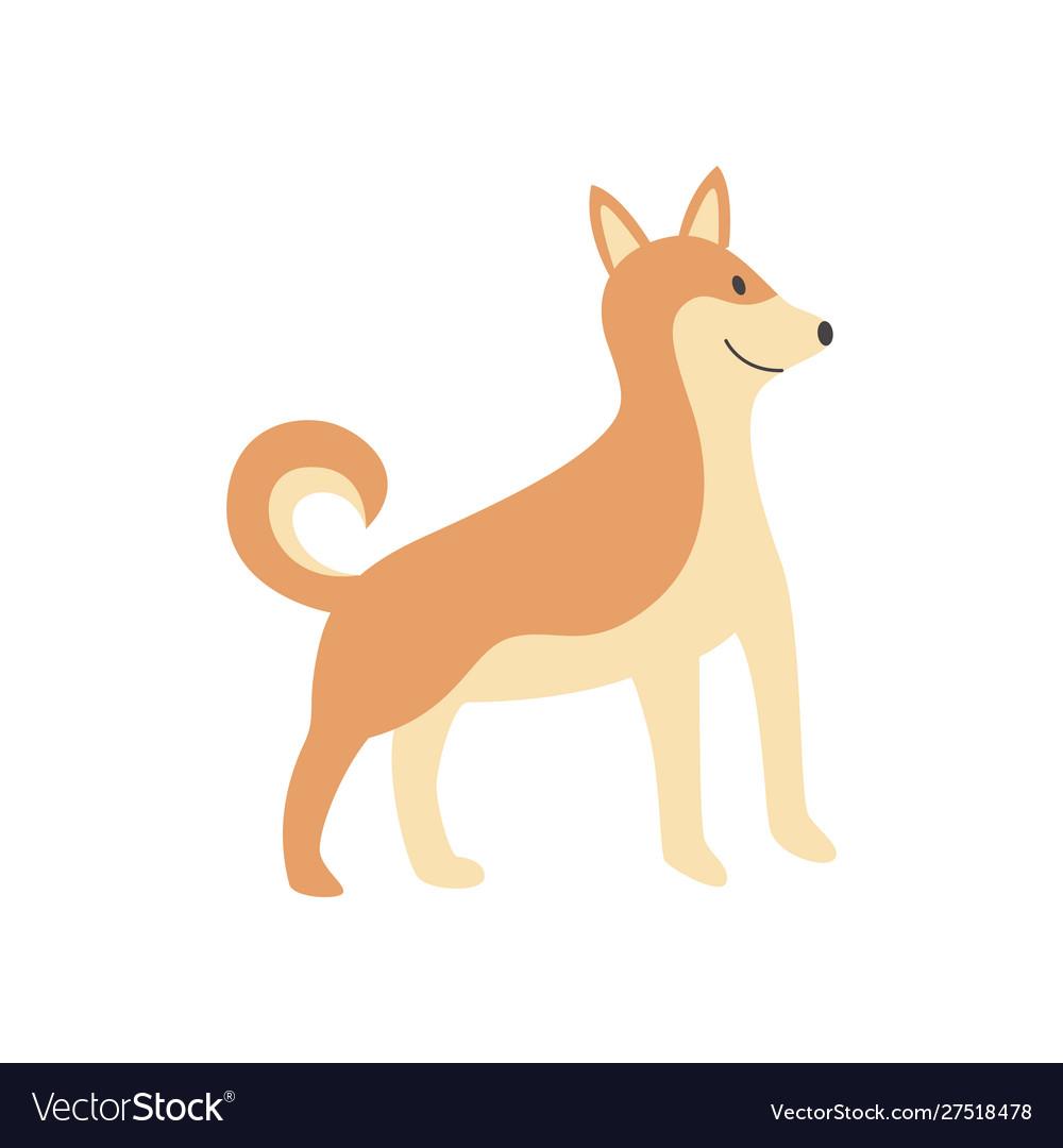 Cute Cartoon Shiba Inu Dog Standing And Smiling Vector Image