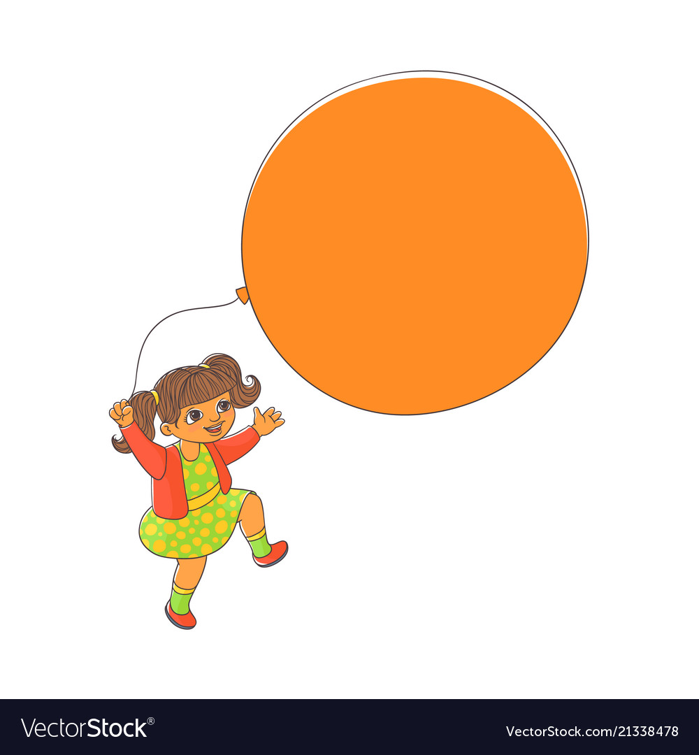 Cute little girl playing with big balloon