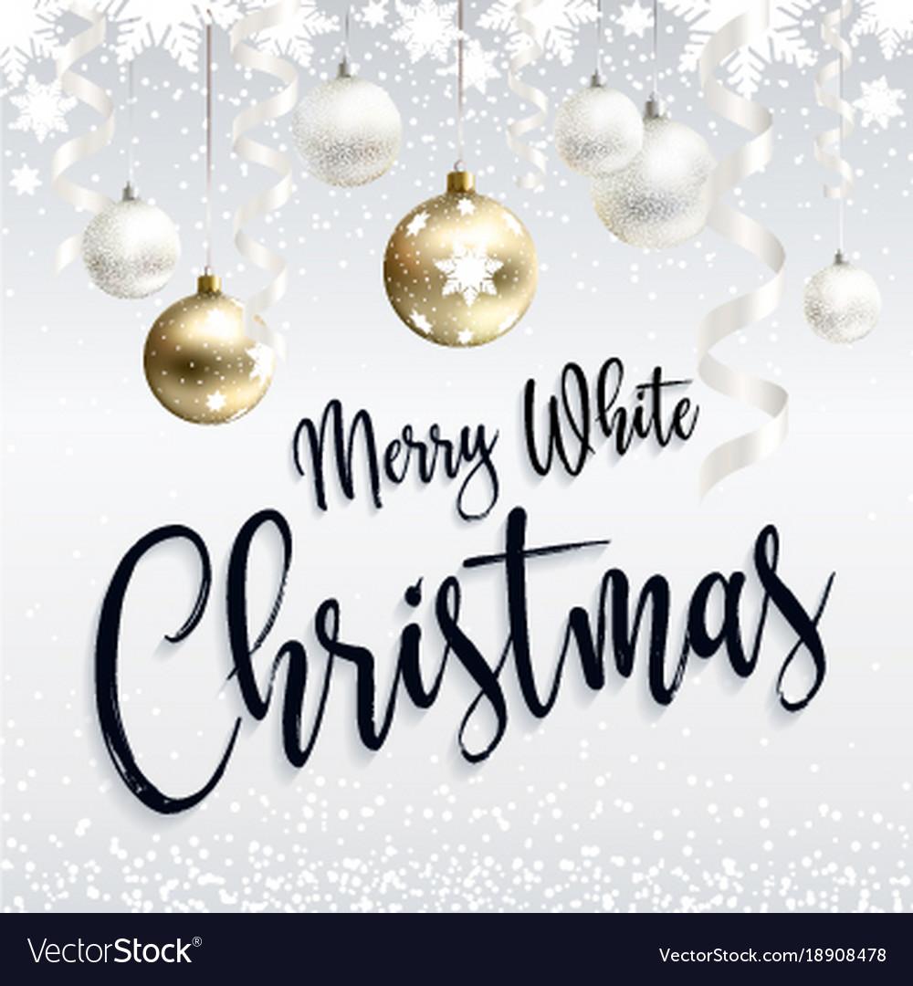 Festive postcard merry white christmas greetings vector image m4hsunfo
