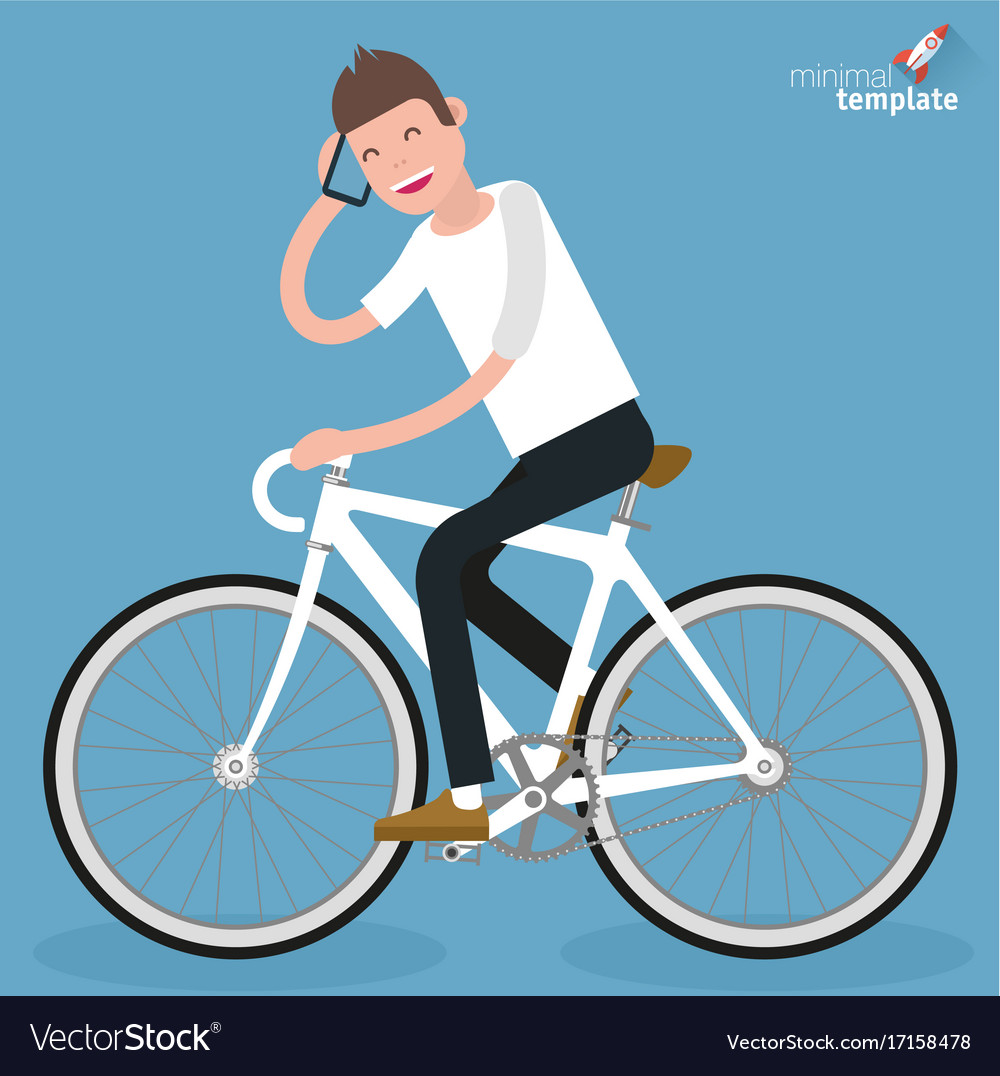 Flat design young women riding bicycle vector image