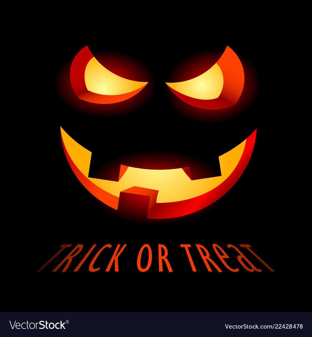 Halloween poster with evil smile and inscription