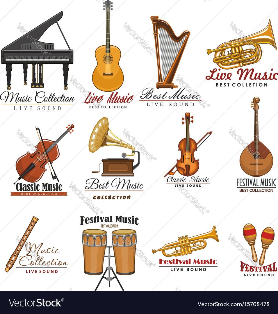 Musical instrument symbol set for music design vector image
