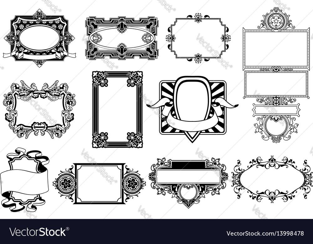 Ornate frame and border design elements vector image