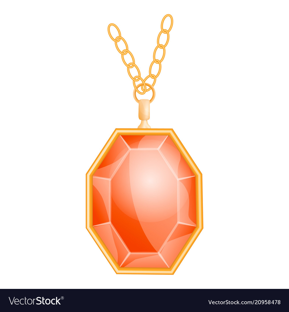 Red gemstone mockup realistic style vector image