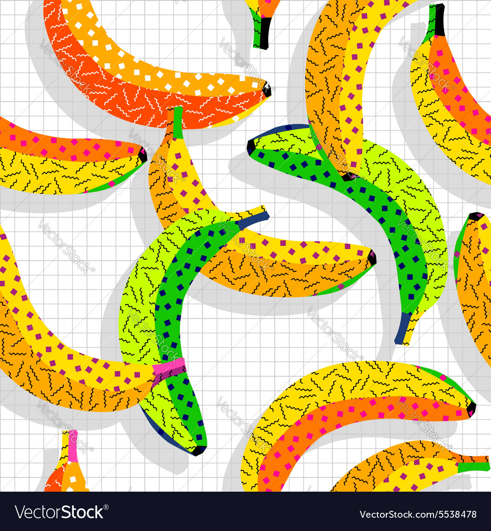 Retro 80s banana pattern background vector