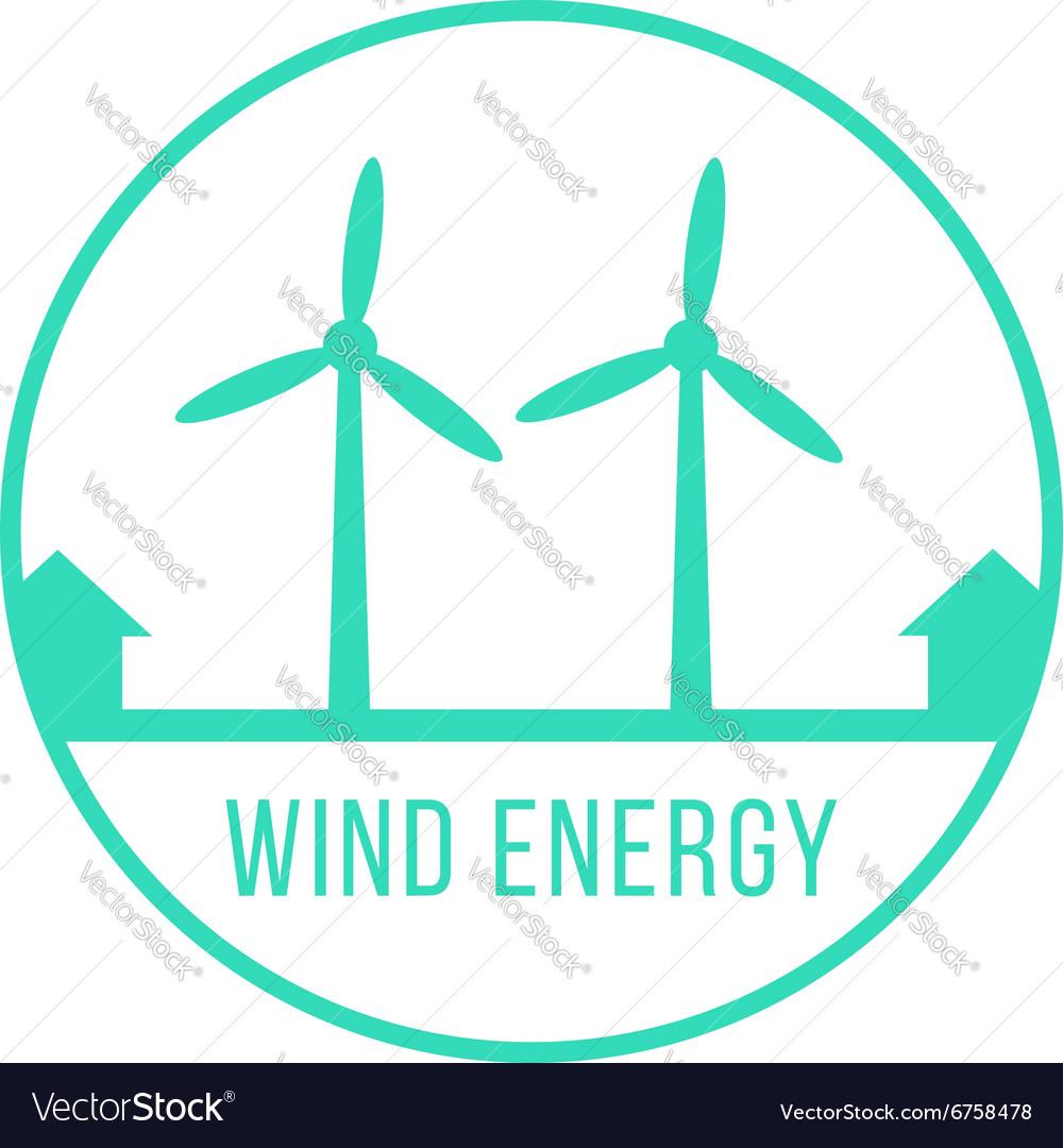 Wind energy green logotype vector image