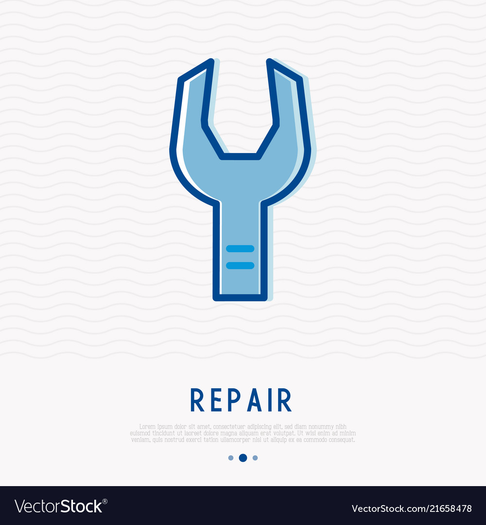Wrench thin line icon modern