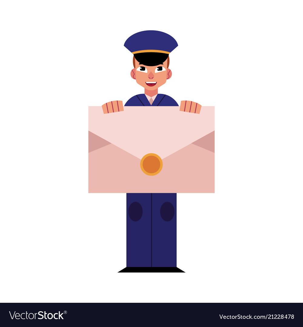 Young postman in blue uniform holds big envelope