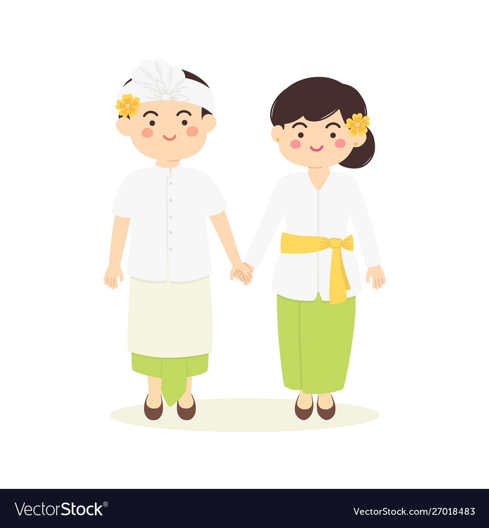 Bali Indonesia Couple Cartoon